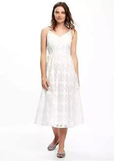 Fit & Flare Cutwork Midi Dress for Women