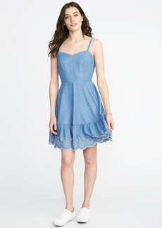 Fit & Flare Embroidered-Hem Cami Dress for Women
