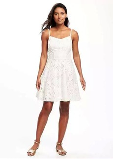 Fit & Flare Eyelet Lace Dress for Women