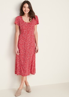 Old Navy Fit & Flare Printed Button-Front Midi Dress for Women