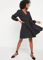 Old Navy Fit & Flare Tie-Belt Wrap Dress for Women
