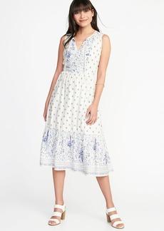 Fit & Flare Tie-Neck Midi Dress for Women