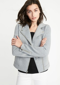 Fleece-Knit Moto Jacket for Women