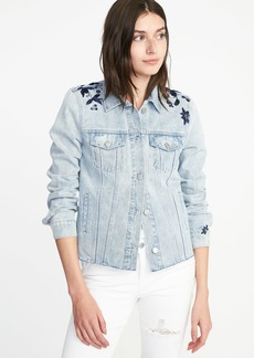 Old Navy Floral-Embroidered Denim Jacket for Women