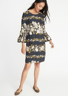 Old Navy Floral-Print 3/4-Sleeve Shift Dress for Women