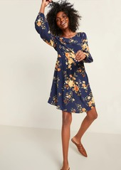 Old Navy Floral-Print Bracelet-Sleeve Swing Dress for Women