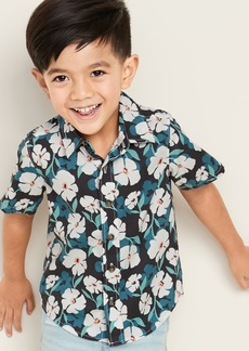Old Navy Floral-Print Built-In Flex Poplin Shirt for Toddler Boys