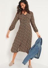 Old Navy Floral-Print Button-Front Fit & Flare Midi Dress for Women