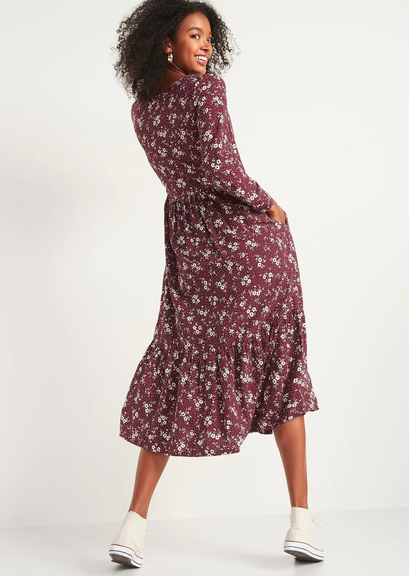 Old Navy Floral-Print Button-Front Maxi Swing Dress for Women