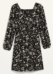 Old Navy Floral-Print Fit & Flare Smocked-Back Dress for Women