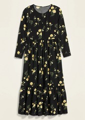 Old Navy Floral-Print Maxi Tiered-Hem Swing Dress for Women