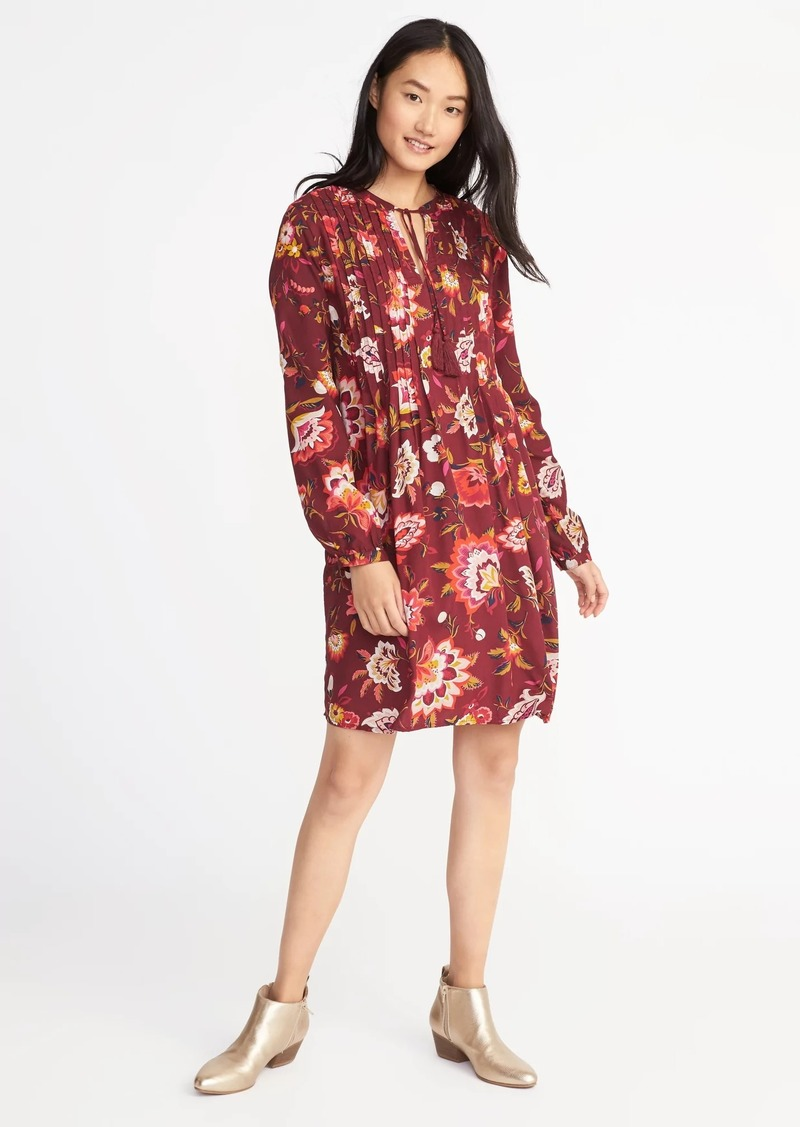 c182c03902ff Old Navy Floral-Print Pintucked Swing Dress for Women | Dresses