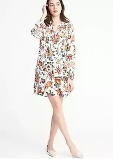 Floral-Print Pintucked Swing Dress for Women