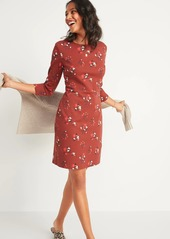 Old Navy Floral-Print Ponte-Knit Sheath Dress for Women
