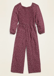 Old Navy Floral-Print Smocked-Top Long-Sleeve Jumpsuit for Girls