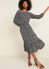 Old Navy Floral-Print Waist-Defined Midi Dress for Women