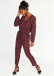 Old Navy Floral-Printed Tie-Waist Jumpsuit for Women