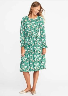 Floral Ruffle-Sleeve Waisted Midi for Women