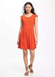 Flutter-Sleeve Fit & Flare Dress for Women