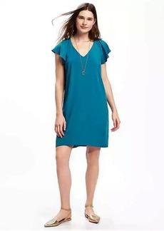 Flutter-Sleeve Shift Dress for Women