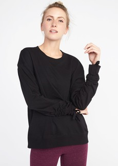 French-Terry Cinched-Sleeve Sweatshirt for Women