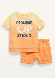 Old Navy French Terry Raglan Sweatshirt and U-Shaped Shorts Set for Baby