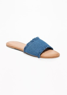 Old Navy Fringed-Denim Slide Sandals for Women