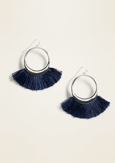 Old Navy Fringed Tassel Hoop Earrings for Women