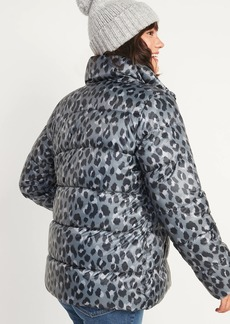Old Navy Frost-Free Leopard-Print Zip Puffer Jacket for Women