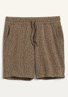 Old Navy Gender-Neutral Leopard-Print Jogger Sweat Shorts for Adults -- 7.5-inch inseam