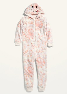 Old Navy Gender-Neutral Tie-Dyed Micro Fleece Hooded One-Piece Pajamas for Kids