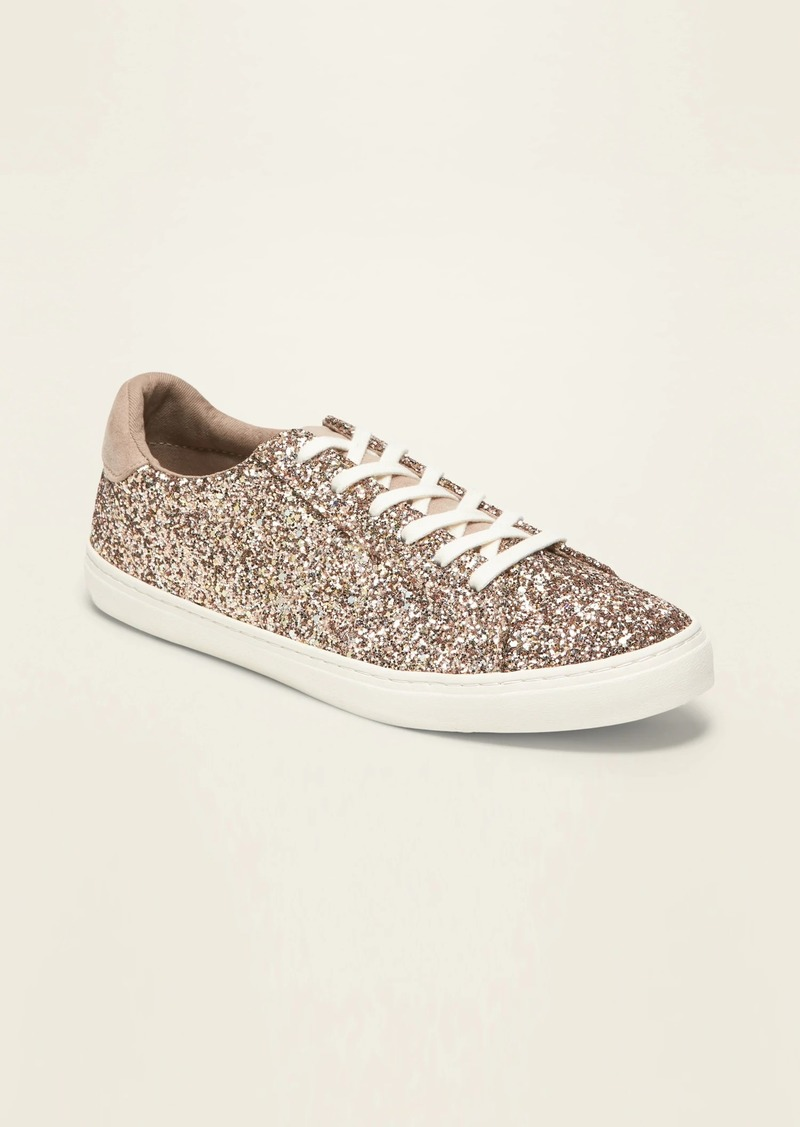 Old Navy Glitter-Covered Lace-Up Sneakers for Women