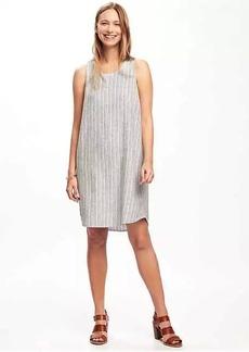 Hi-Lo Linen-Blend Shift Dress for Women
