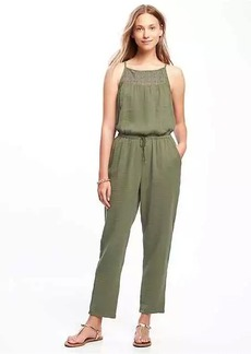High-Neck Crochet-Yoke Jumpsuit for Women