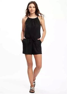 High-Neck Linen-Blend Romper for Women