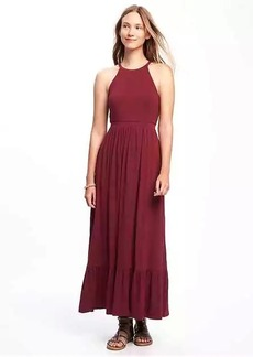High-Neck Ruffle-Hem Maxi Dress for Women