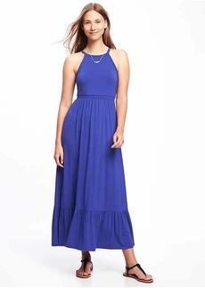 High-Neck Ruffle-Hem Maxi Dress for Women