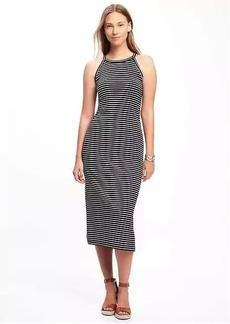 High-Neck Side-Slit Midi Dress for Women