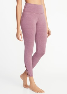 Old Navy High-Rise 7/8-Length Lattice-Hem Yoga Leggings for Women