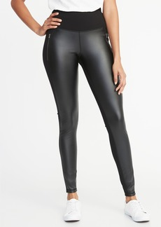 Old Navy High-Rise Faux-Leather/Ponte Zip-Pocket Street Leggings for Women