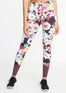 Old Navy High-Rise Floral-Print Striped-Calf Compression Leggings for Women