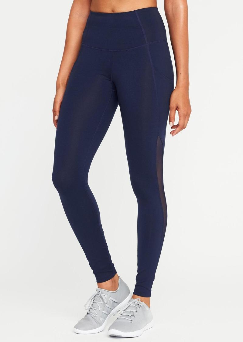 5e480c995417e8 Old Navy High-Rise Side-Pocket Mesh-Trim Compression Leggings for Women