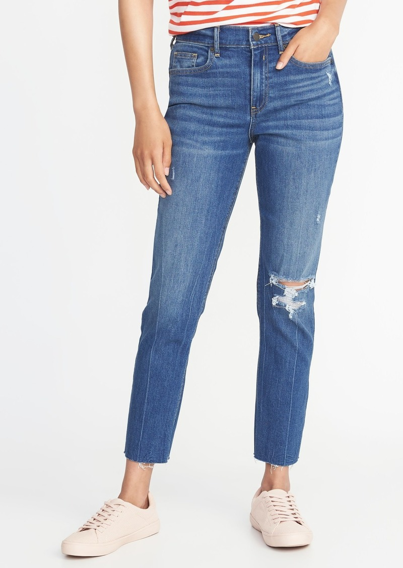 buying new best website reasonable price Old Navy Mid-Rise Distressed Raw-Hem Straight Ankle Jeans for Women | Denim