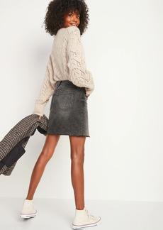 Old Navy High-Waisted Black Frayed-Hem Jean Mini Skirt for Women