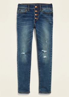 Old Navy High-Waisted Built-In Tough Button-Fly Distressed Rockstar Super Skinny Jeggings for Girls