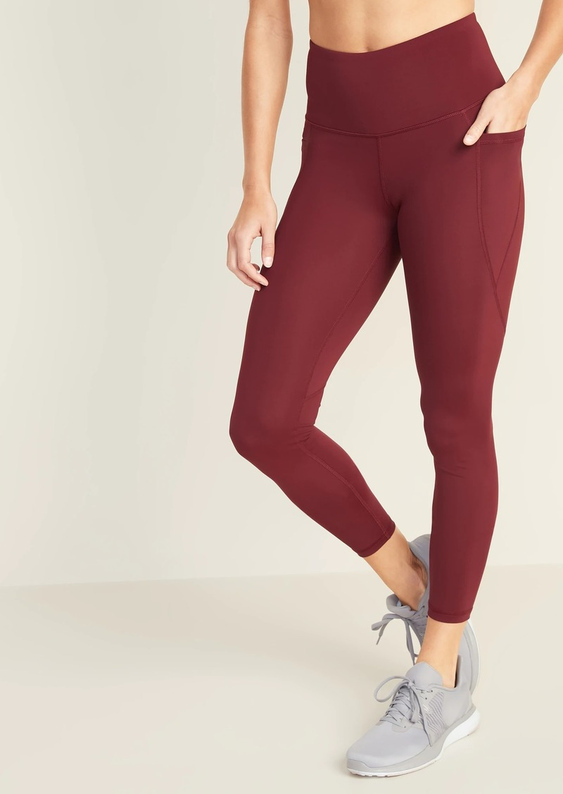 Navy 78 High Waisted Yoga Leggings With Side Pockets