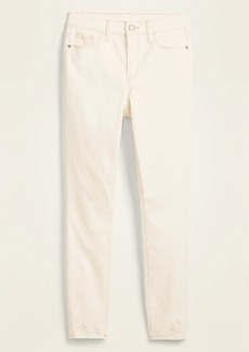 Old Navy High-Waisted Embroidered Cutwork Rockstar Super Skinny Off-White Ankle Jeans for Women