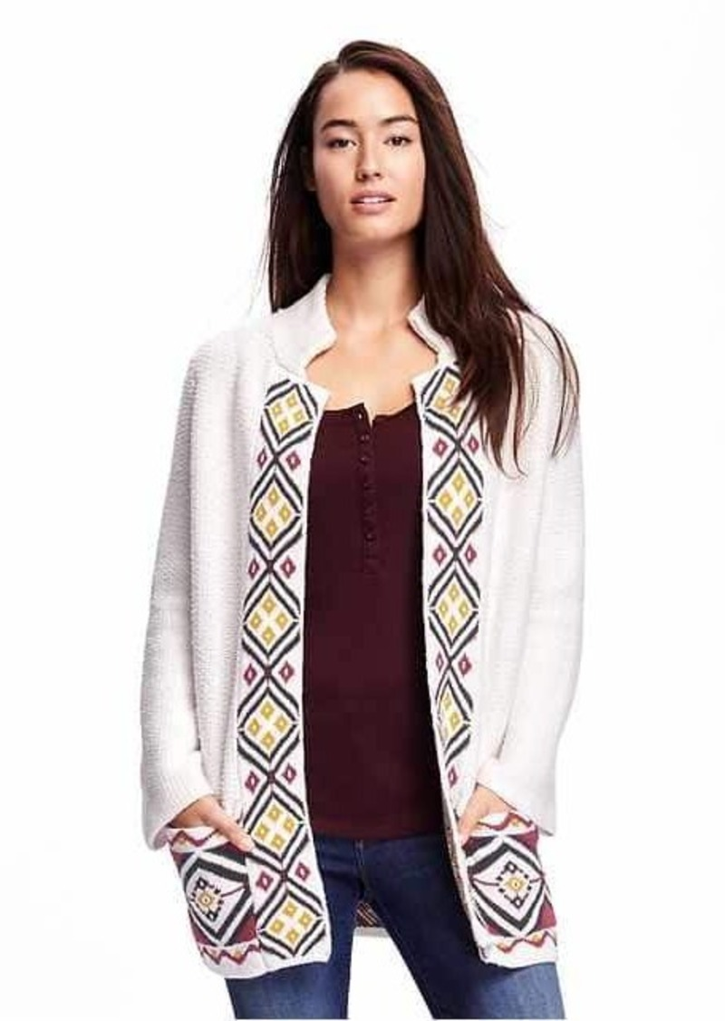 Old Navy Jacquard Open-Front Cardi-Coat for Women | Sweaters ...