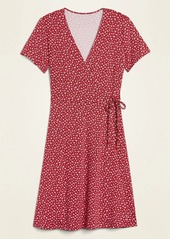 Old Navy Jersey-Knit Wrap-Front Fit & Flare Dress for Women