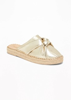 ea9ed14aa26 Old Navy Knotted Metallic Faux-Leather Espadrille Slide Sandals for Women